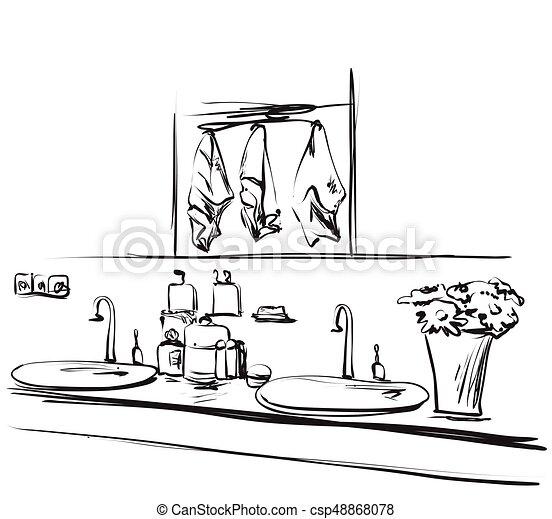 hand mirror sketch. Modren Mirror Hand Drawn Bathroom Interior Mirror Washbasin And Tap Sketch  Csp48868078 To Mirror Sketch M
