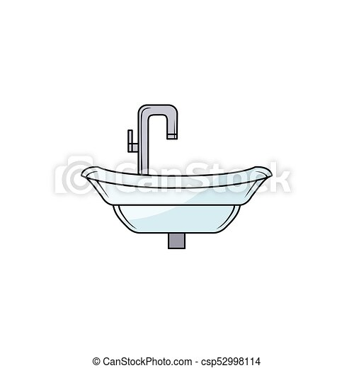 Hand Drawn Bathroom Sink Washbasin With Faucet Front View Picture