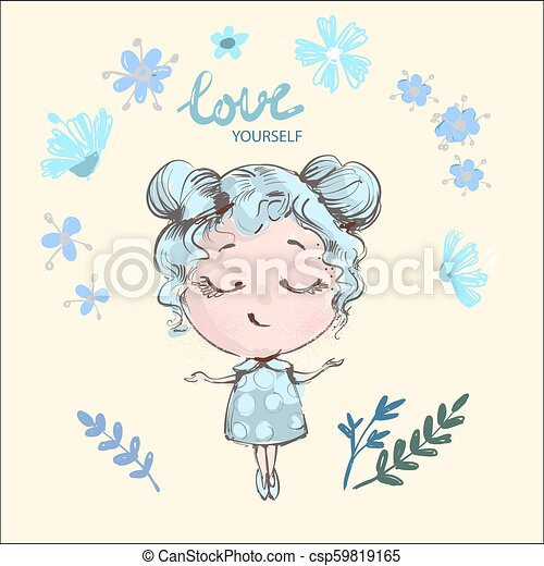 Hand Drawn Beautiful Cute Girl With Flowers Smiling With Eyes Closed