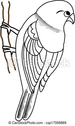 Hand Drawn Bird On A Twig