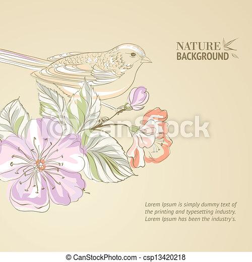 Hand drawn bird on sacura branch. - csp13420218