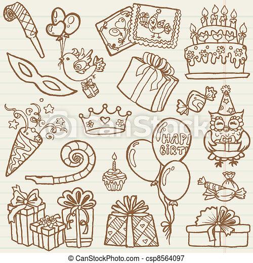 hand drawn birthday celebration design elements for scrapbook