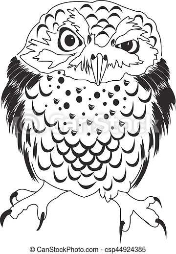 Hand drawn black white illustration owl fly bird. art coloring book ...