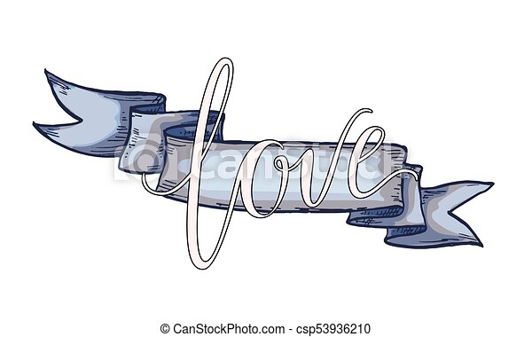 Line Art Ribbon : Hand drawn blue vintage ribbon with love lettering . design