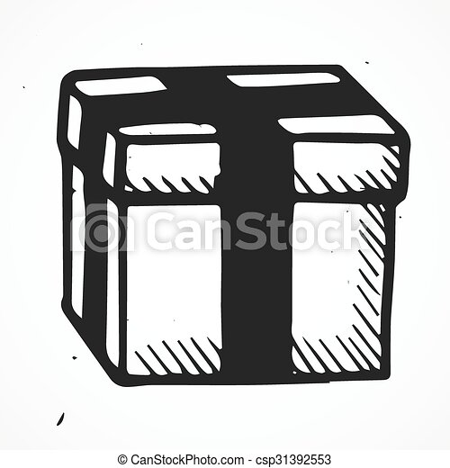 hand drawn box isolated hand drawn vector box isolated doodle object