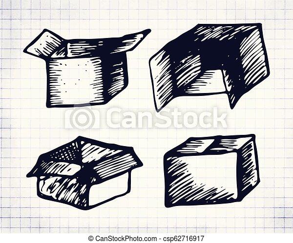 Hand drawn box set on notebook sheet - csp62716917