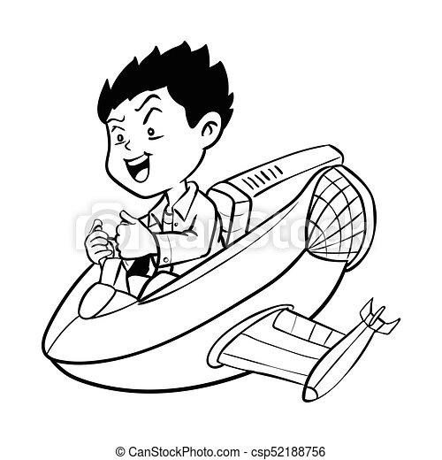 Hand Drawn Boy Drive Aircraft Cartoon Vector Hand Drawn Boy Drive