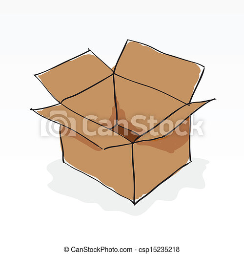 hand drawn brown paper box on white