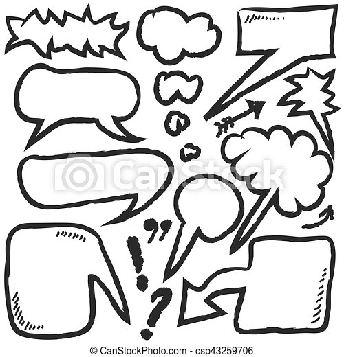 hand drawn bubble speech, vector - csp43259706