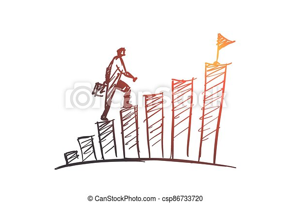 Hand drawn businessman climbing stairs to the top - csp86733720