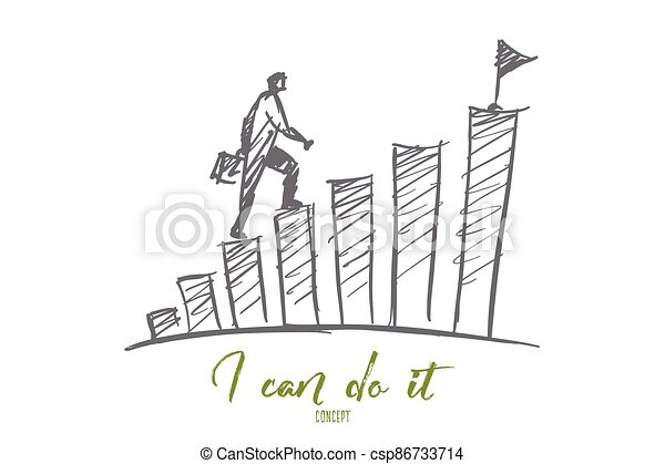 Hand drawn businessman climbing stairs to the top - csp86733714