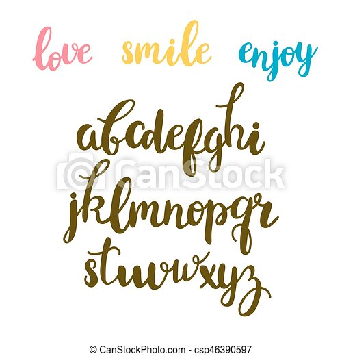 Hand Drawn Calligraphic Font Cute Letters Lettering Alphabet