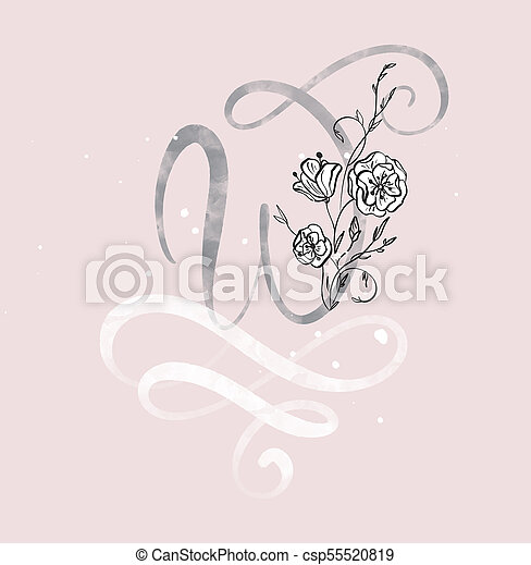 Hand Drawn Calligraphy Letter W With Flower Watercolor Script Font Isolated Letters Written