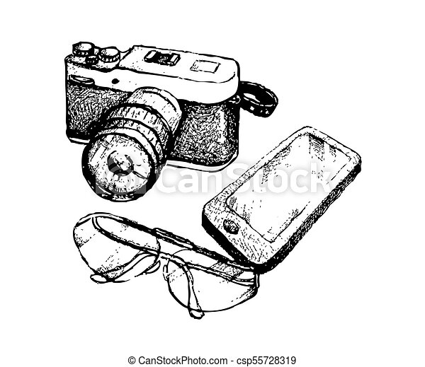 Hand Drawn Camera And Glasses With Smart Phone Illustration Of Hand