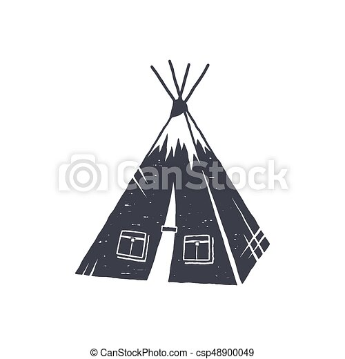 Hand drawn c& tent shape. Indian style tent. Monochrome design. C&ing icon  sc 1 st  Can Stock Photo & Hand drawn camp tent shape. indian style tent. monochrome... eps ...