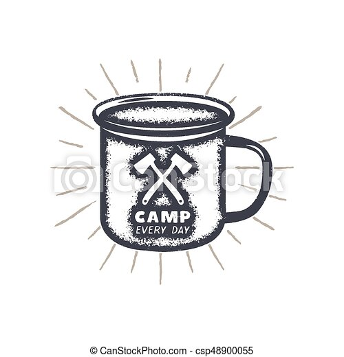Hand Drawn Camping Mug Shape Sunbursts Label With Motivational Quote