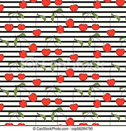 Hand Drawn Cherry Pattern Vector Illustration Background. - csp56284790