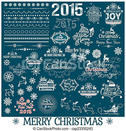 Hand Drawn Christmas And New Year Decoration Set - csp23355243