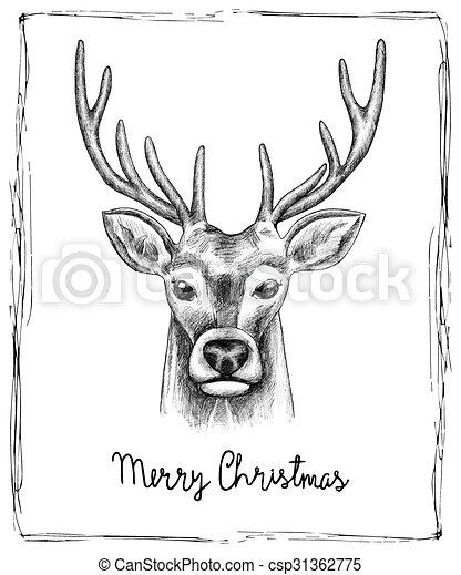 Reindeer Christmas Cards.Hand Drawn Christmas Card
