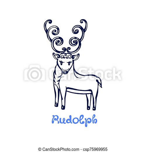 Hand drawn Christmas deer Rudolph isolated on white - csp75969955