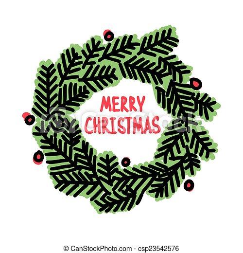 Hand drawn Christmas doodle wreath - csp23542576