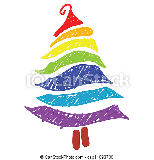 Hand Drawn Christmas Tree Rainbow Color