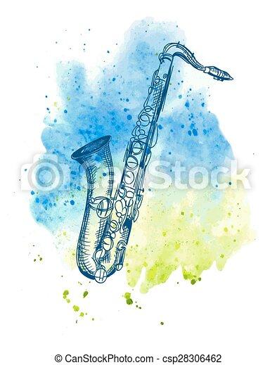 hand drawn classical alto saxophone - csp28306462