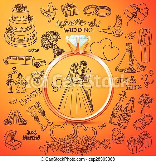 Hand drawn collection of decorative wedding design elements clip hand drawn collection of decorative wedding design elements with gold rings csp28303368 junglespirit Choice Image