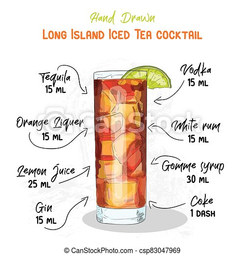Hand Drawn Colorful Long Island Iced Tea Summer Cocktail Drink Ingredients Handwritten Recipe Canstock