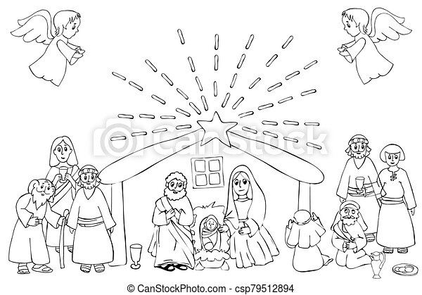 Coloring ~ Coloring Nativity Scene Page Christmas Angels Lds Free ... | 319x450
