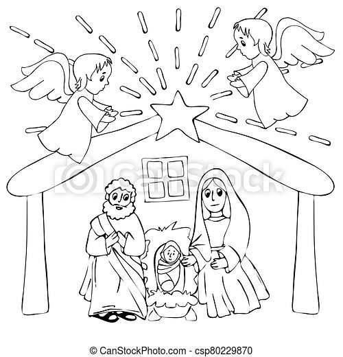 Hand Drawn Coloring Pages For Kids And Adult A Christmas Nativity Scene Coloring Cartoon With Baby Jesus Mary And Joseph Canstock