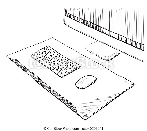 Hand Drawn Computer Screen and Keyboard