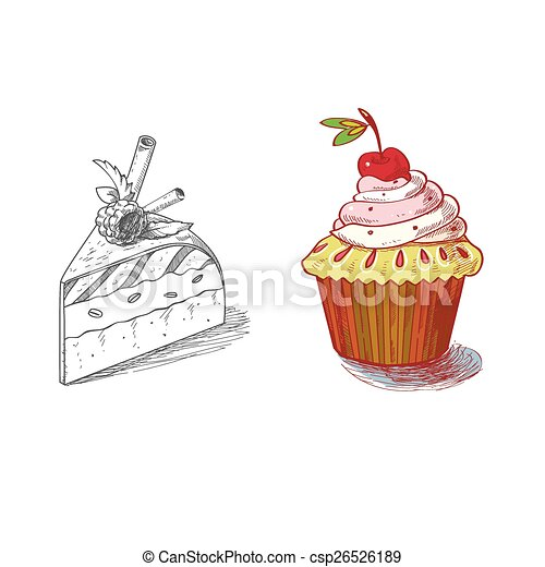 hand drawn confections dessert pastry bakery products cupcake pie muffin - csp26526189