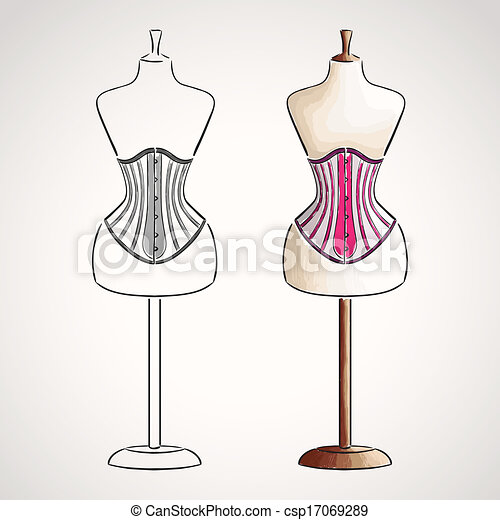 hand drawn corset on maneqiun silhouette and colored version