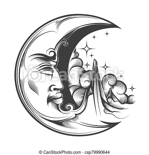 hand drawn crescent moon esoteric symbol engraving illustration crescent moon with face esoteric symbol engraving tattoo https www canstockphoto com hand drawn crescent moon esoteric symbol 79990644 html