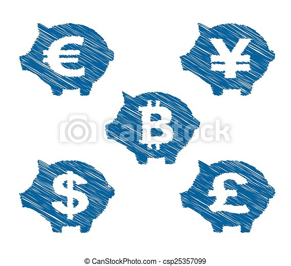 Hand drawn currency icons - csp25357099