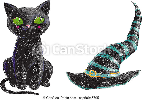 Hand Drawn Cute Black Witch Cat And Old Hat Isolated On White Background Pencil Drawing Scary Halloween Collection