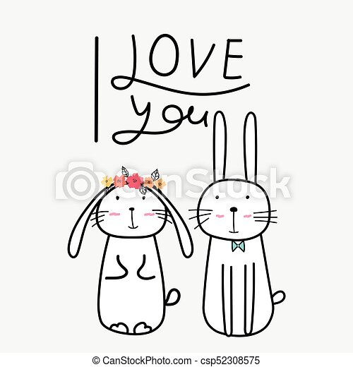 Hand Drawn Cute Bunnies With I Love You Typography Vector