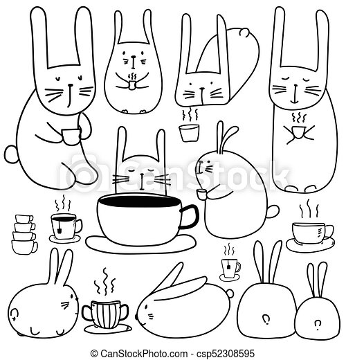Hand Drawn Cute Bunny Characters With Coffee Set Doodle Art
