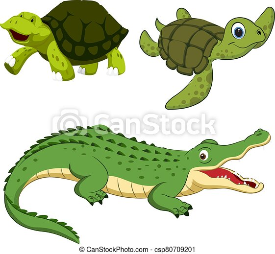 Hand-drawn cute cartoon reptiles. Vector illustration. - csp80709201