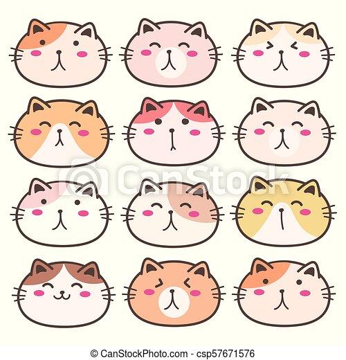 Hand Drawn Cute Cat Characters Set. Vector Illustration. - csp57671576