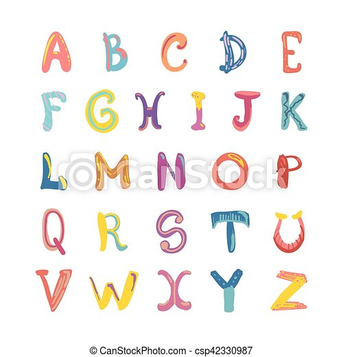 Hand Drawn Cute Funky Alphabet Children Font On White
