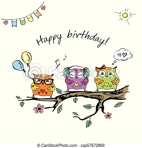 Hand Drawn Cute Owlshappy Birthday Cardstock Vector Illustration