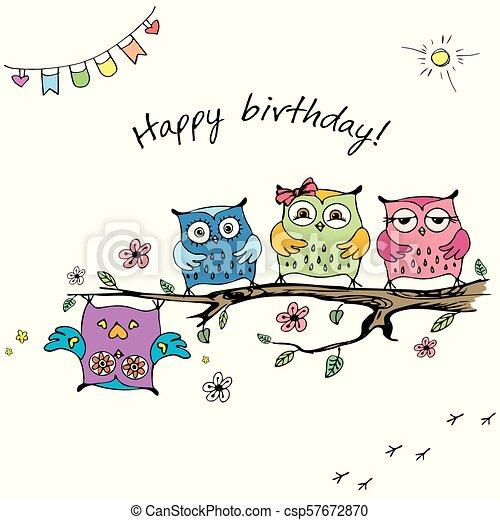 Hand Drawn Cute Owls Happy Birthday Card Stock Vector