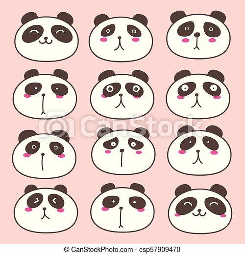 Hand Drawn Cute Panda Characters Set. Vector Illustration. - csp57909470