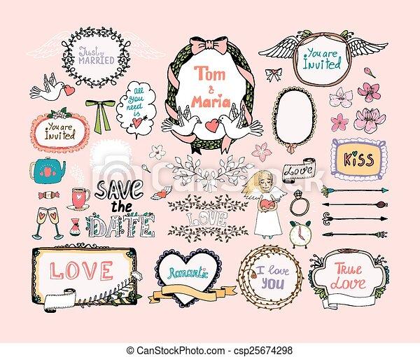 Hand drawn design elements for wedding invitations decor eps hand drawn design elements for wedding invitations decor csp25674298 junglespirit Image collections