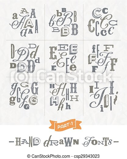 Hand drawn different fonts - set 1 - csp29343023