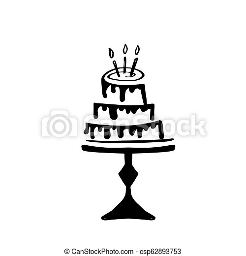 Hand drawn doodle birthday cake with caldles. Vector icon, logo or simbol design - csp62893753