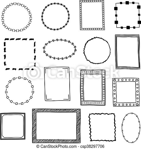Hand Drawn Doodle Frames Borders Vector Set