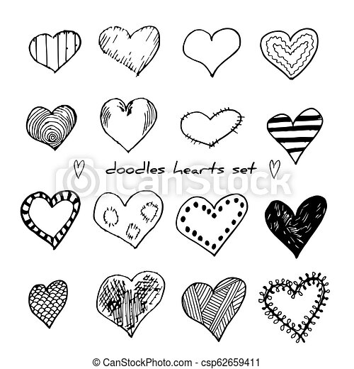 Hand-drawn doodle hearts set isolated on white. Design elements for Valentine day and wedding. Vector illustration for web site, poster, placard, wallpaper - csp62659411